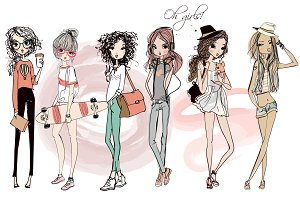 set with 6 fashion sketched girls-1
