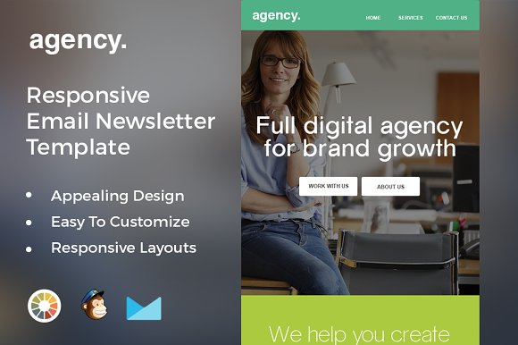 Agency Responsive Mailchimp Template Email Templates Creative Market