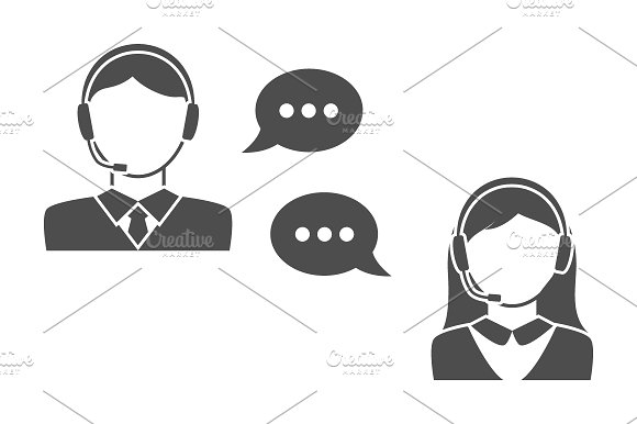 Male and female call center icons in Graphics