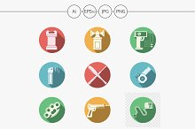 Self defense round color icons set