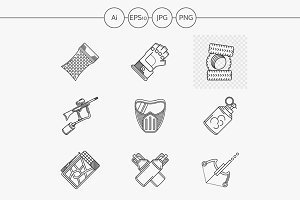 Paintball line vector icons. Set 3