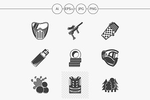 Paintball black design icons. Set 1
