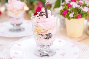 Pink cake souffle in a glass
