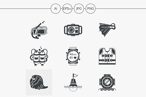 Diving black design icons. Set 1