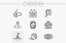 Sea simple line vector icons