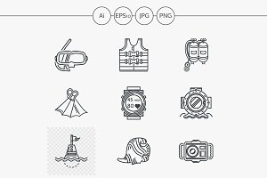 Sea simple line vector icons