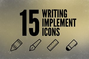 Writing Implements Icon Set