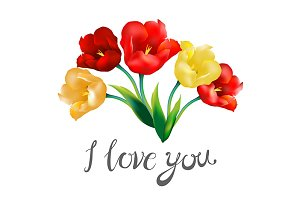 tulip flower design i love you