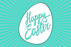 Happy Easter / Vector lettering egg