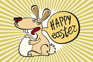 Happy easter bunny. rabbit vector