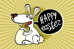 happy easter rabbit Vector