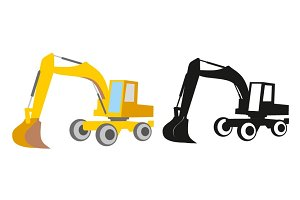 Excavator clip art vector set