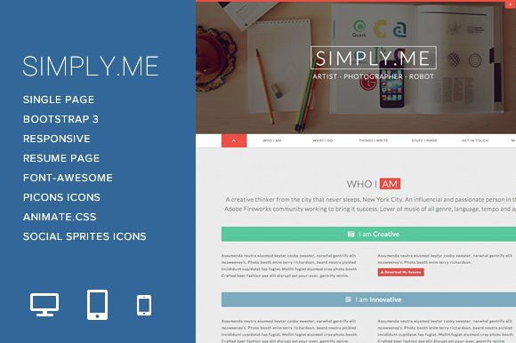 Simply.Me - Personal Portfolio ~ Bootstrap Themes ~ Creative Market