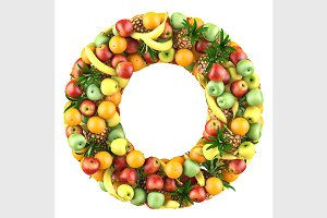 Letter of fruits 3d