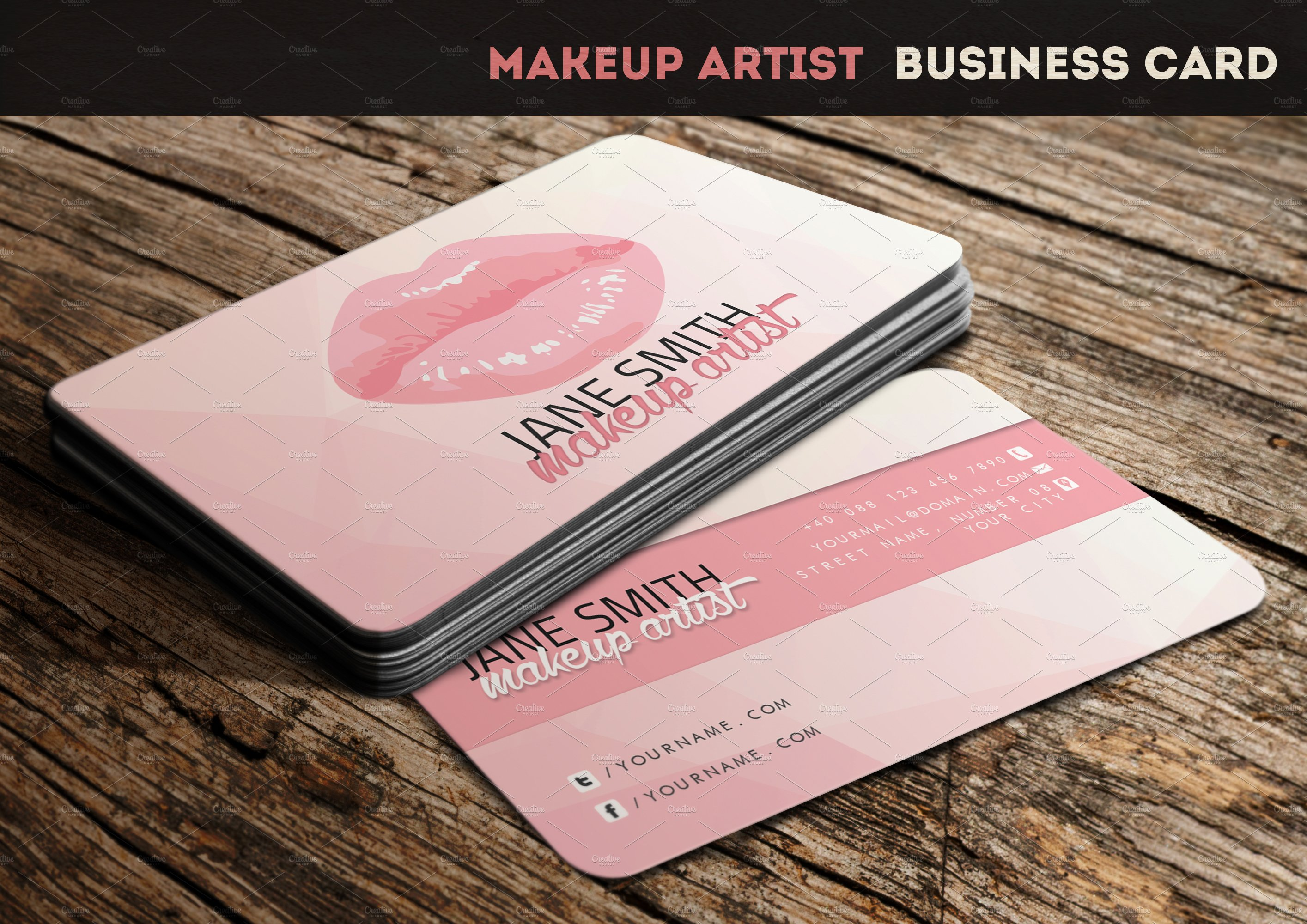 Makeup artist business card business card templates creative makeup artist business card business card templates creative market alramifo Image collections