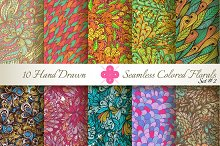 10 Colored Seamless Florals. Set #2