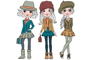 Set cute hipster girls