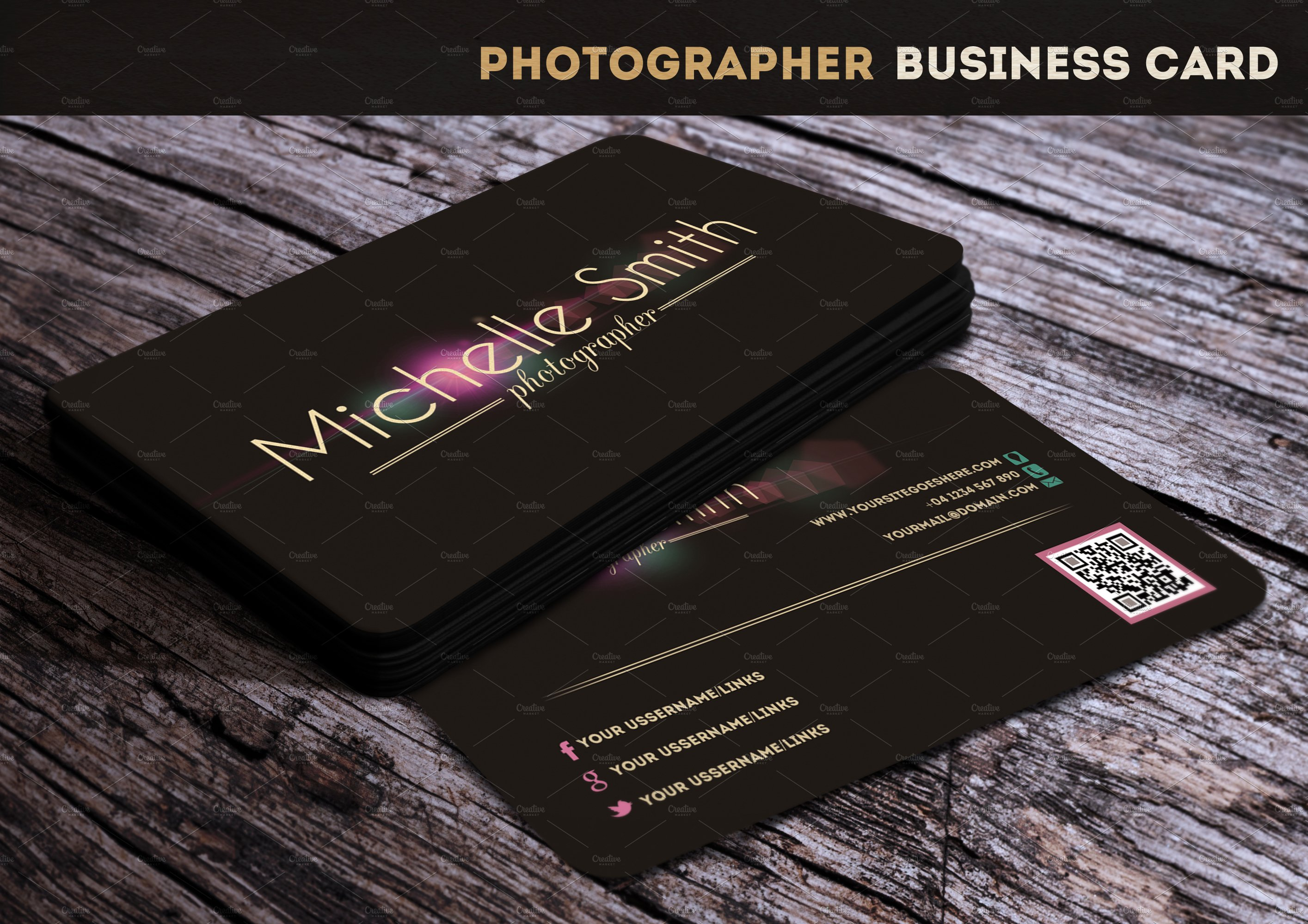 Photographer business card business card templates creative market wajeb