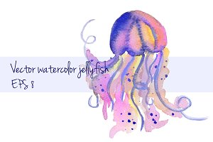 Watercolor vector jellyfish