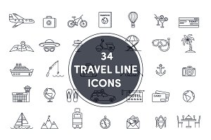 34 travel line icons
