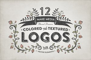 Hand Drawn Colored & Textured Logos