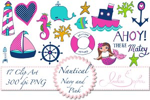 Nautical Navy and Pink Clip Art