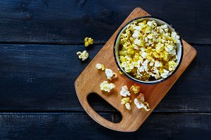 Bowl with salt popcorn