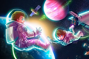 Cartoon astronaut kid in outer space