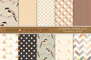 Digital Paper-Geometric Birds