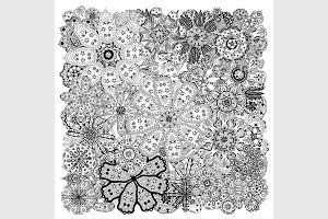 Different doodle flowers