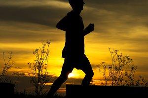 runner at sunset