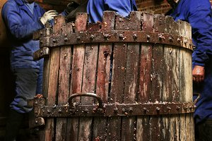 farmers making wine with winepress