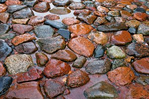 Road from a stone after a rain