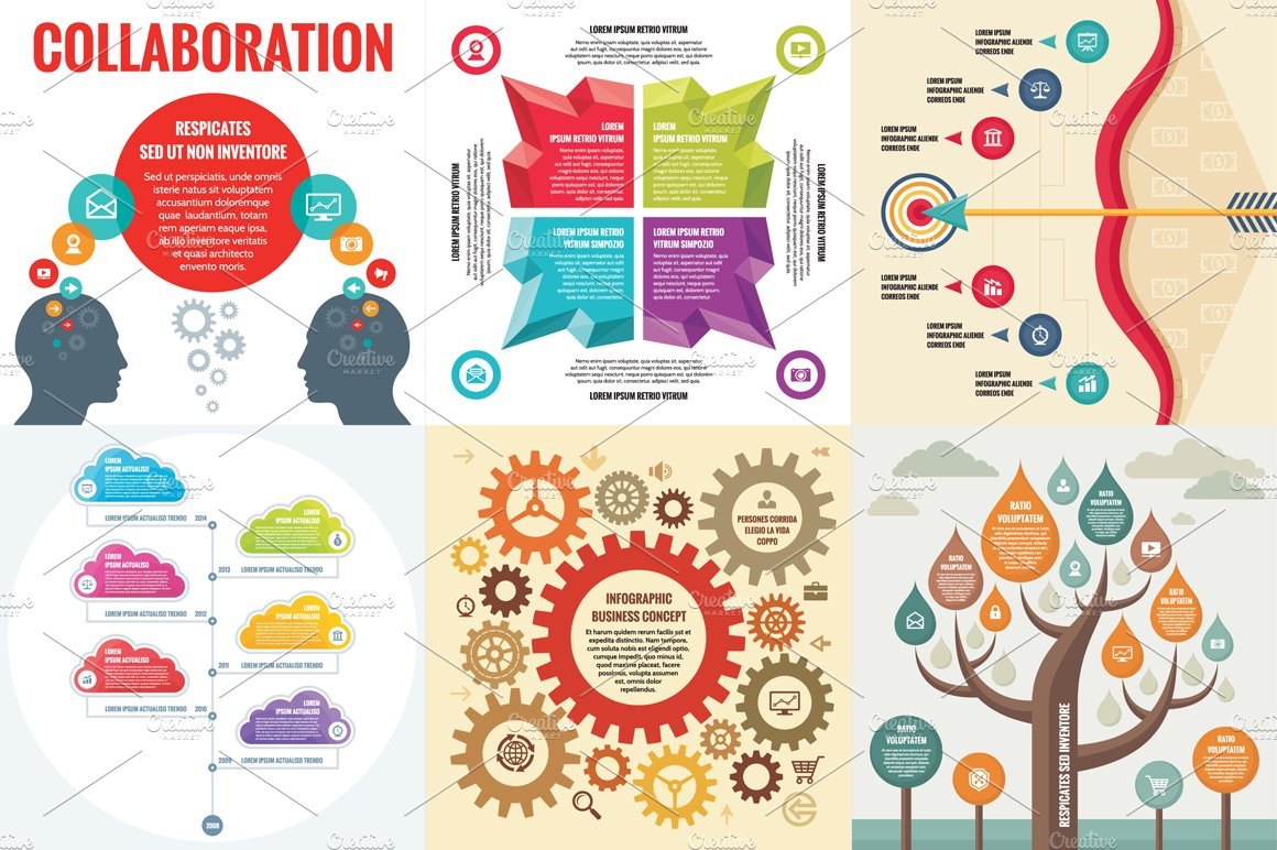 6 Infographic Business Concept ~ Presentation Templates ...