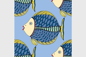 Seamless Tangle Patterns fish