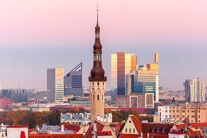 Tallinn at sunset, Estonia