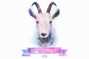 Watercolor set of animals | Goat