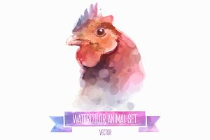 Watercolor set of animals | Chiken