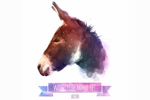 Watercolor set of animals | Donkey