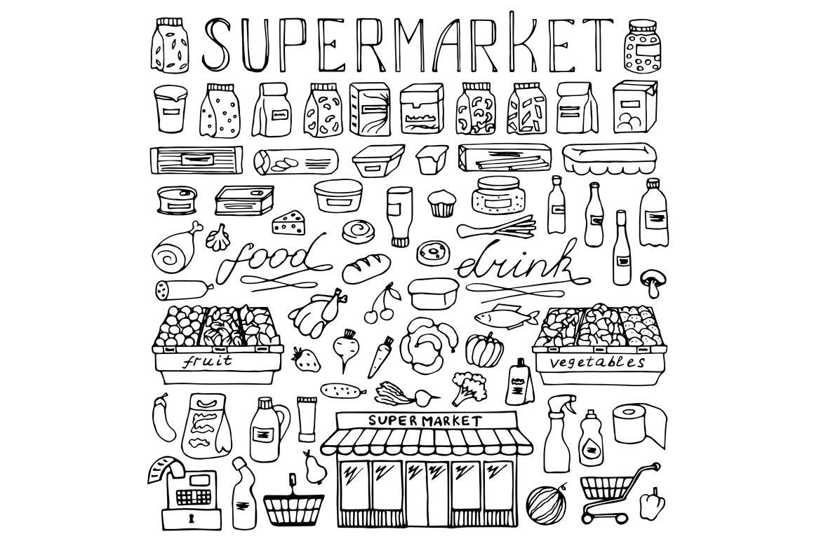 Supermarket Set 2 Seamless Pattern Graphic Patterns