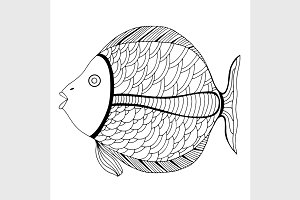 Tangle Patterns stylized Fish