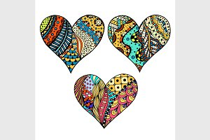 Set colored hearts