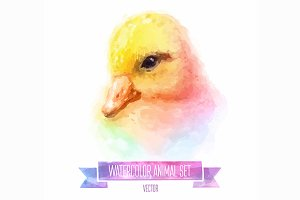 Watercolor set of animals | Duckling