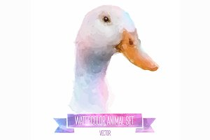 Watercolor set of animals | Duck