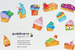 watercolor cupcake clip art