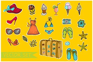 Vector cute summer set.