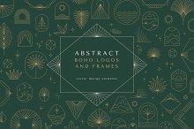 Abstract boho logos and frames