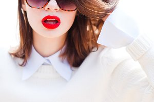 portrait of a girl with red lips