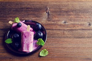 Homemade popsicle blueberry