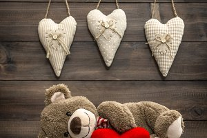 Teddy Bear with Red Heart Pillow